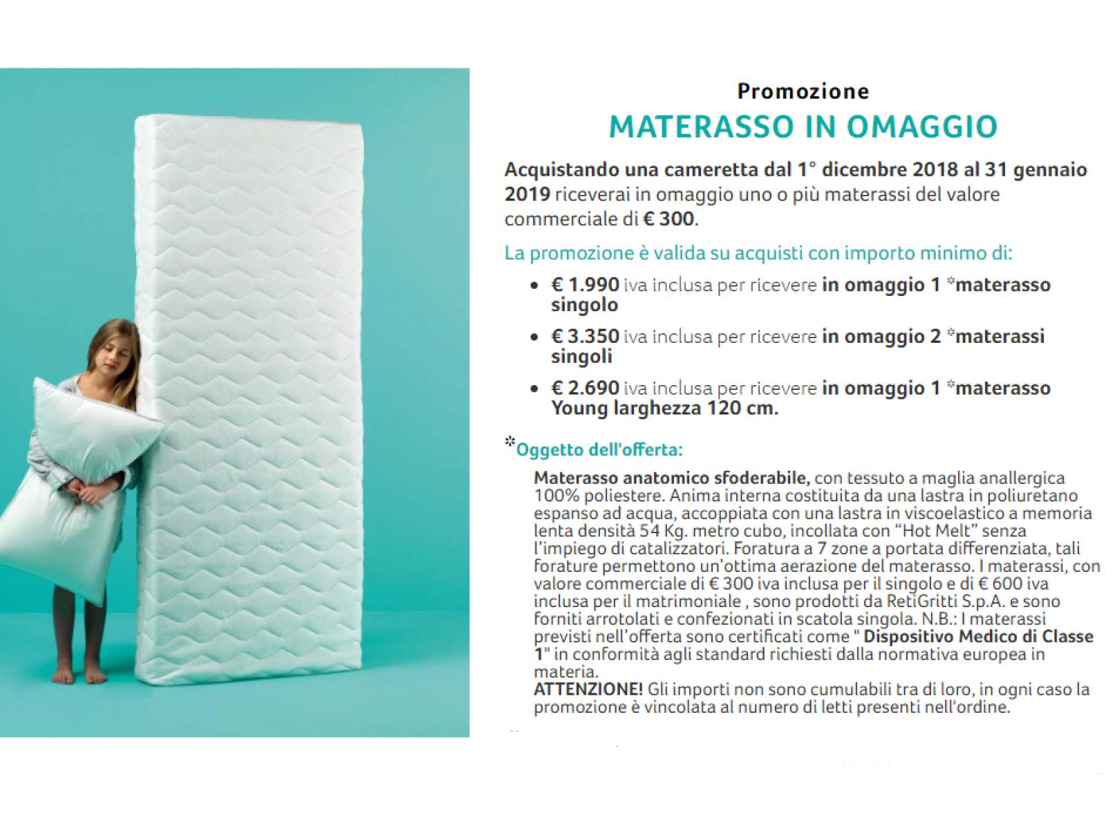 Promozione Materasso con Cameretta Moretti